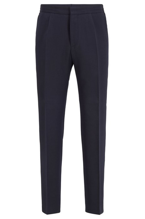 Slim-fit pants in seersucker fabric with stretch, Dark Blue