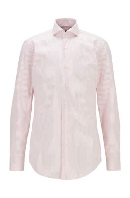 Striped slim-fit shirt in washed cotton poplin, light pink