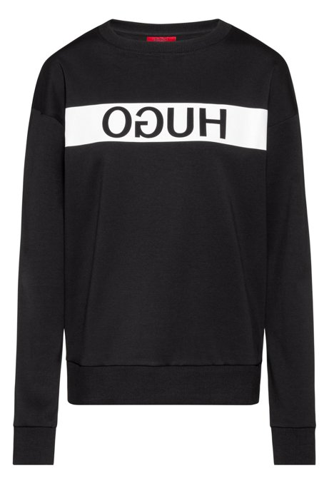 Relaxed-fit sweatshirt with reverse-logo print, Black