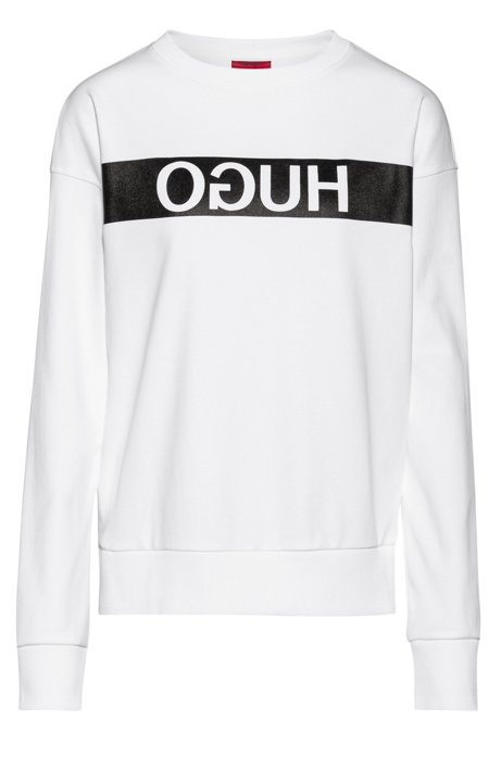 Relaxed-fit sweatshirt with reverse-logo print, White