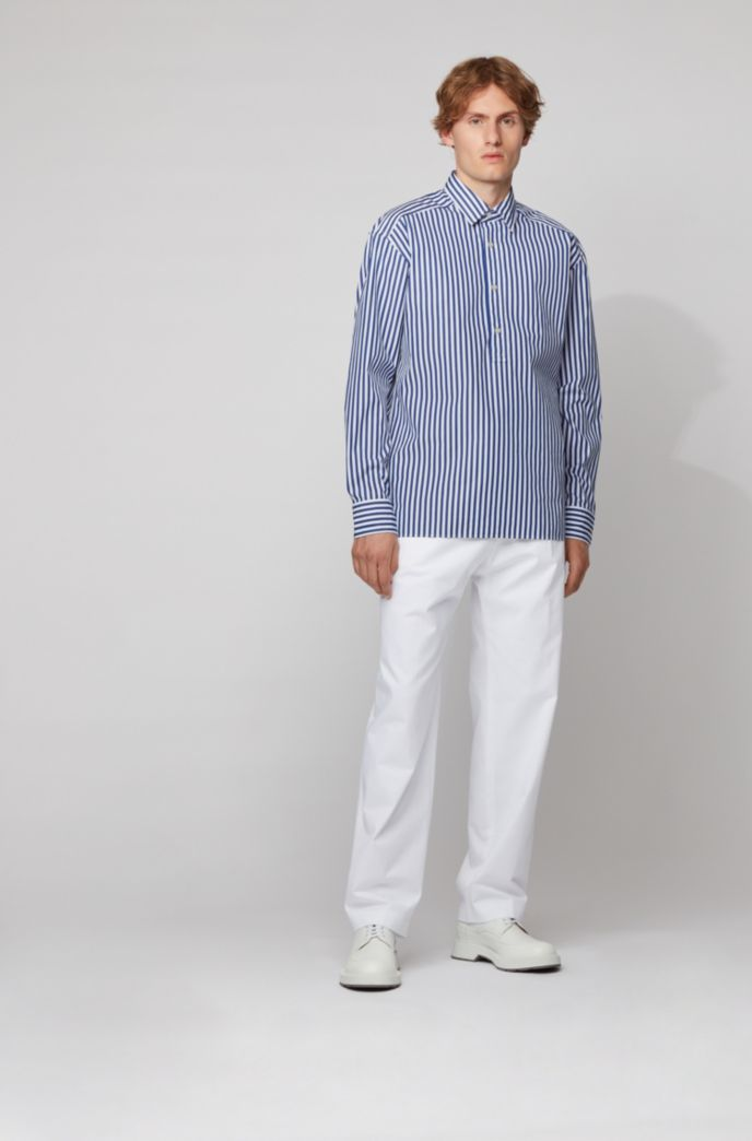 Relaxed-fit shirt in striped cotton with polo placket
