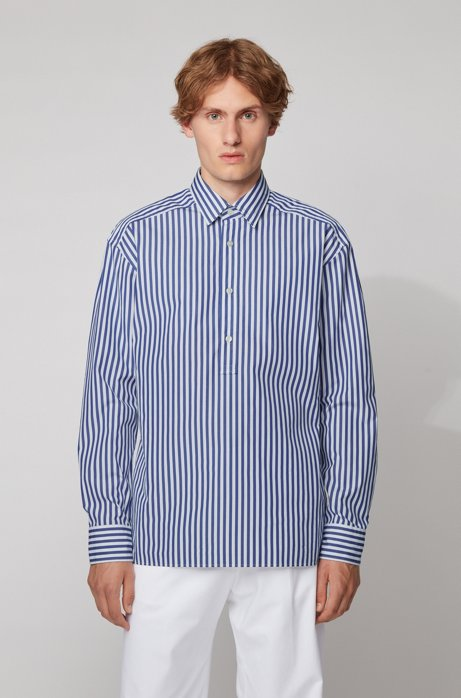 Relaxed-fit shirt in striped cotton with polo placket, Light Blue