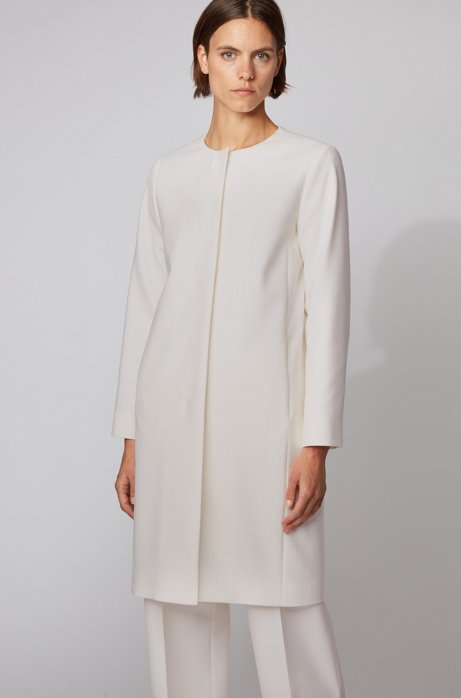 Collarless coat in double-faced stretch fabric, White