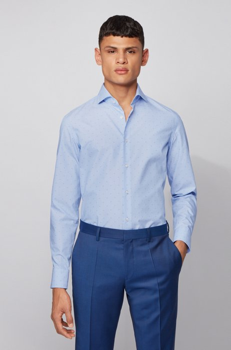 Slim-fit shirt in micro-patterned fil-coupé cotton, Blue