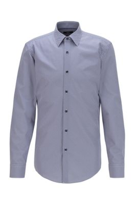 Slim-fit shirt in printed cotton poplin, Light Blue