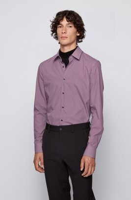 Slim-fit shirt in printed cotton poplin, Purple