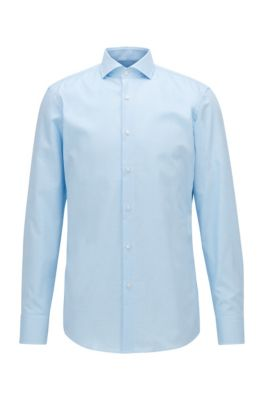 Slim-fit shirt in easy-iron micro-structured cotton, Turquoise