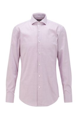 Slim-fit shirt in easy-iron micro-structured cotton, Purple