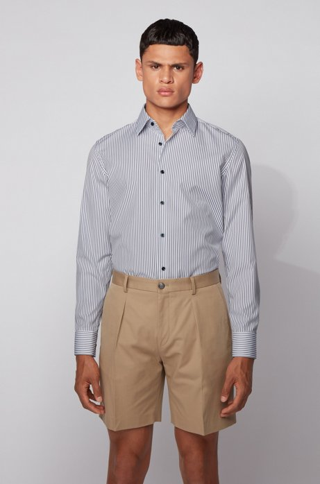 Slim-fit shirt in striped cotton with contrast buttons, Dark Blue