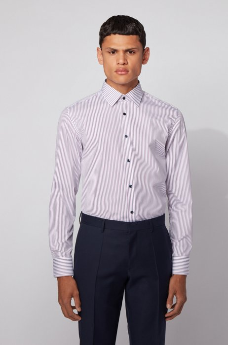 Slim-fit shirt in striped cotton with contrast buttons, Purple