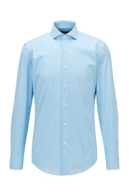 Slim-fit shirt in striped easy-iron cotton, Turquoise