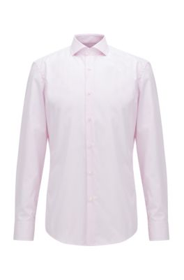 Slim-fit shirt in striped easy-iron cotton, light pink