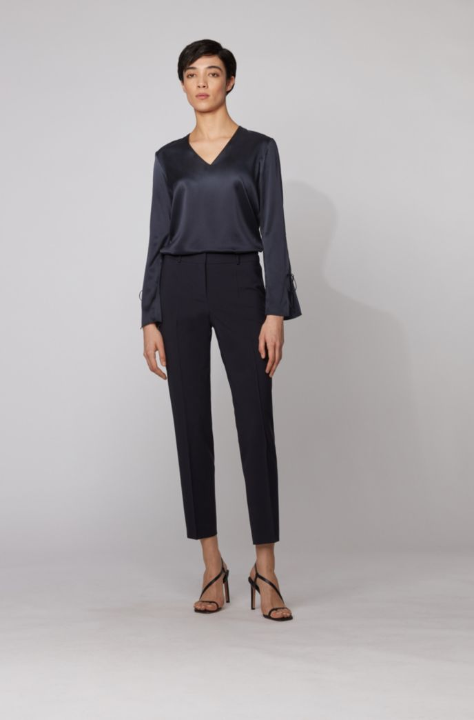 V-neck top in stretch silk with tie-up sleeves