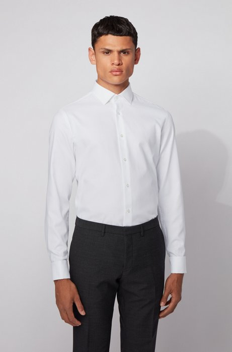 Slim-fit shirt in dobby cotton with double cuffs, White