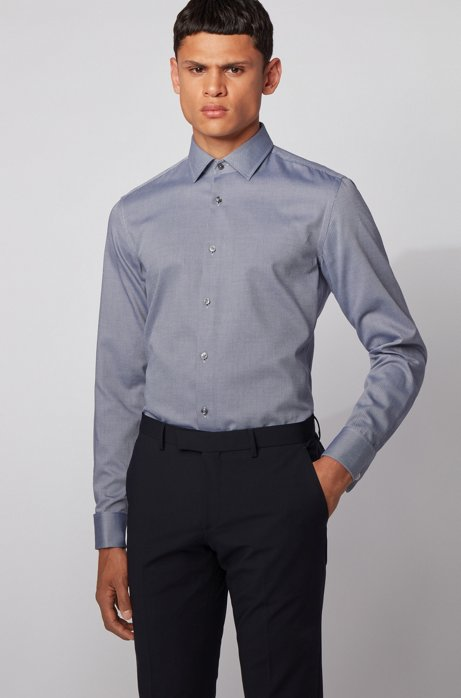 Slim-fit shirt in dobby cotton with double cuffs, Dark Blue