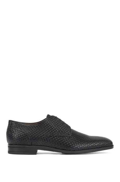 Italian-made Derby shoes in woven-embossed calf leather, Black
