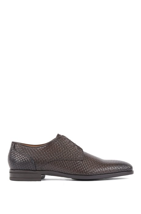 Italian-made Derby shoes in woven-embossed calf leather, Dark Brown