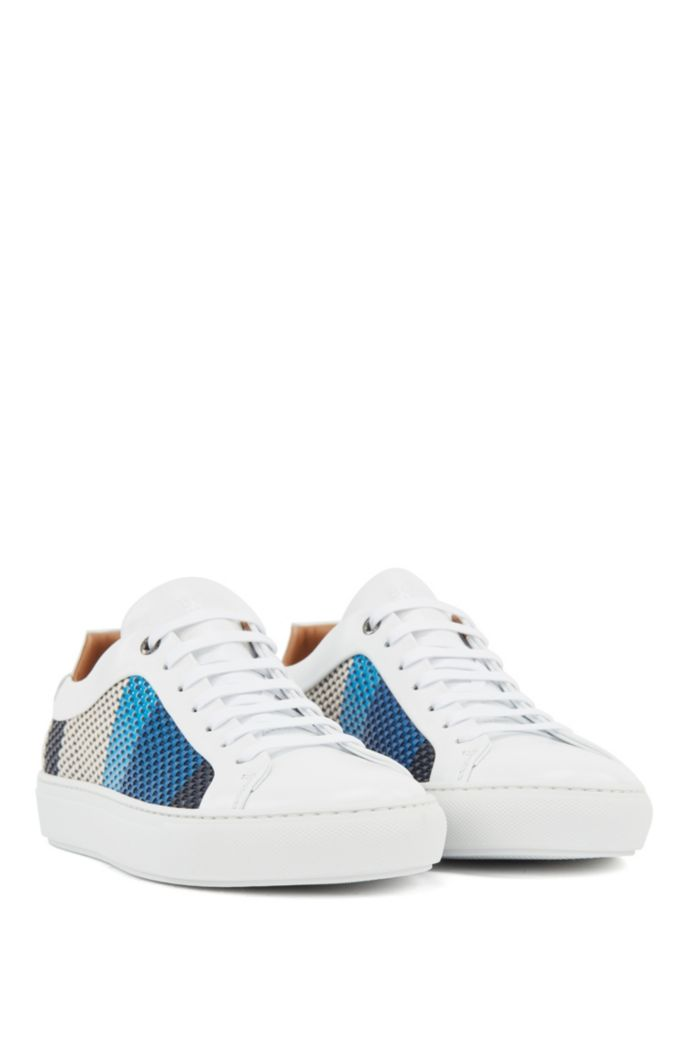 Leather trainers with seasonal woven embossing