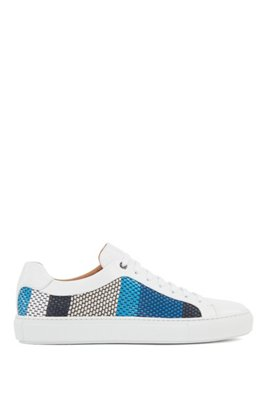 Leather trainers with seasonal woven embossing, Light Blue