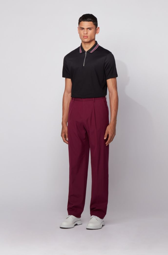 Zip-neck polo shirt in interlock cotton