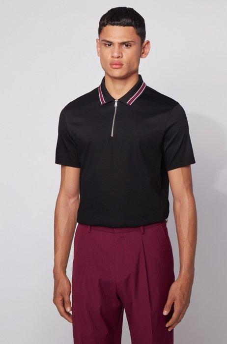 Zip-neck polo shirt in interlock cotton, Black