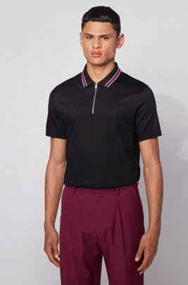 Zip-neck polo shirt in interlock cotton, Black