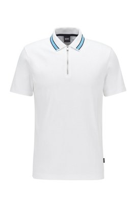 Zip-neck polo shirt in interlock cotton, White