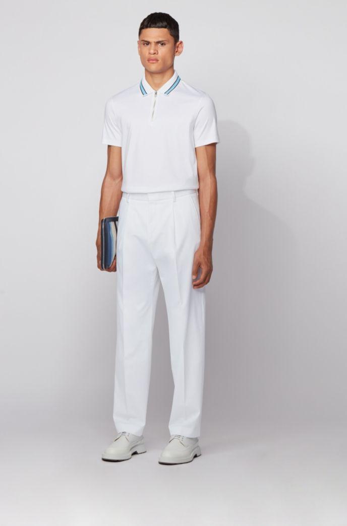 Zip-neck polo shirt in interlock cotton