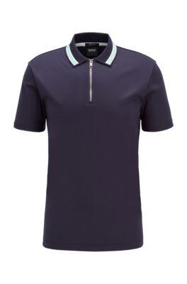 Zip-neck polo shirt in interlock cotton, Dark Blue