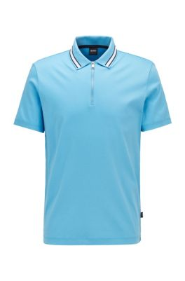 Zip-neck polo shirt in interlock cotton, Turquoise