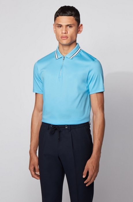 Zip-neck polo shirt in interlock cotton, Turquoise