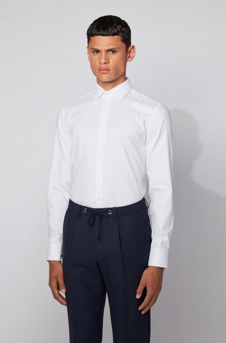 Slim-fit shirt in micro-structure cotton, White