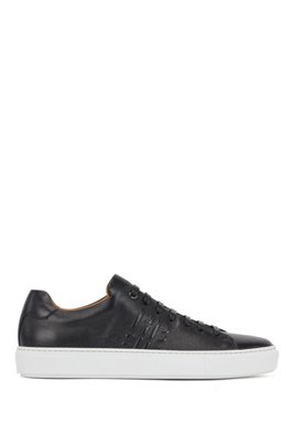 Italian-made sneakers in calf leather with monogram detail, Black