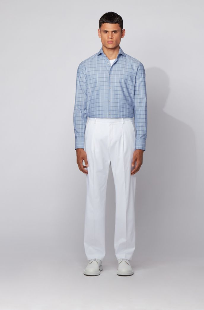 Checked slim-fit shirt in dobby Oxford cotton