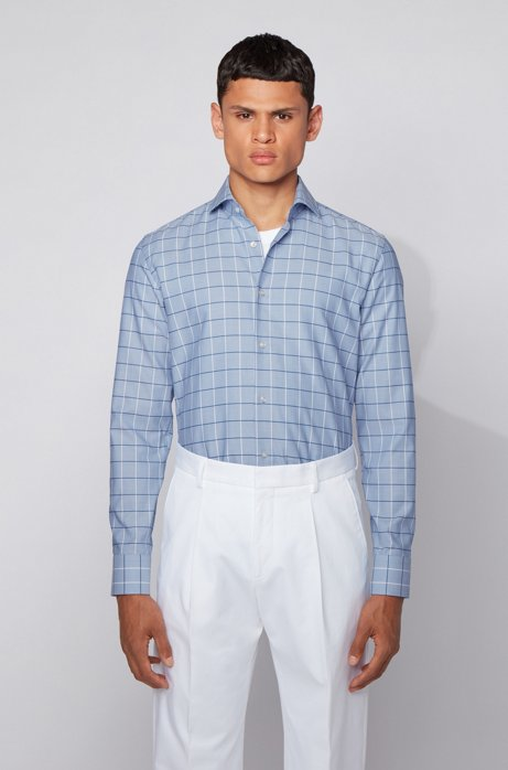 Checked slim-fit shirt in dobby Oxford cotton, Light Blue