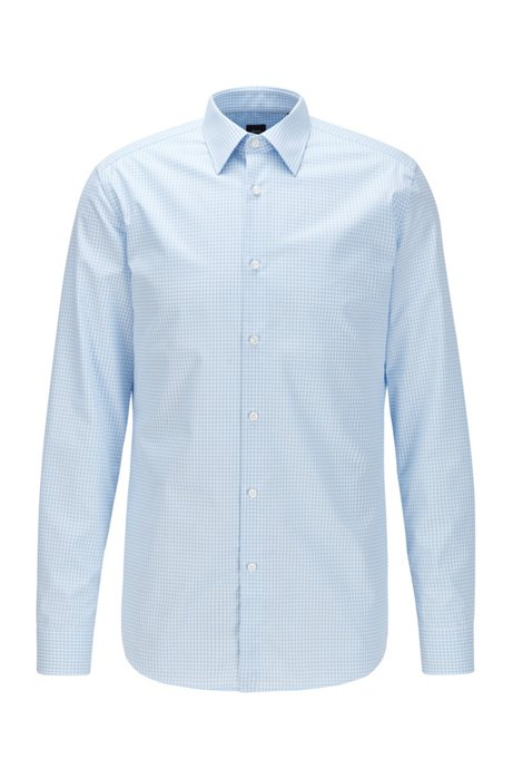 Slim-fit shirt in Vichy-check non-iron cotton, Light Blue