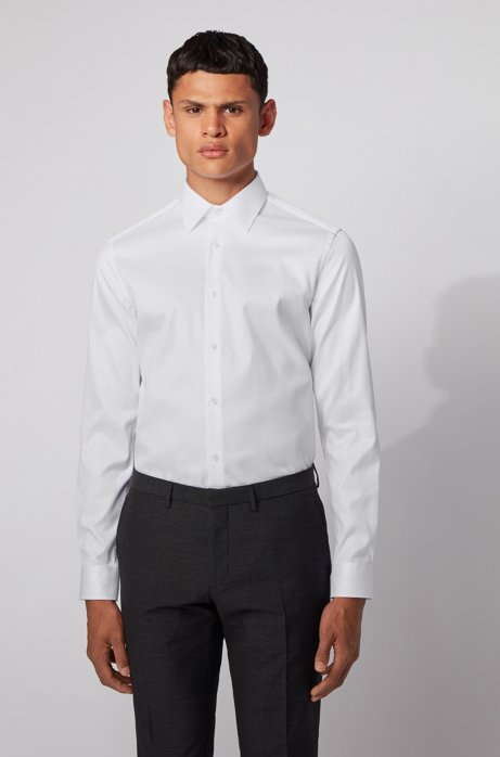 Slim-fit shirt in diamond-structured non-iron cotton, White