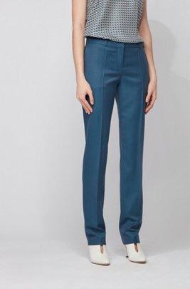 Regular-fit pants in plain-check virgin wool, Patterned