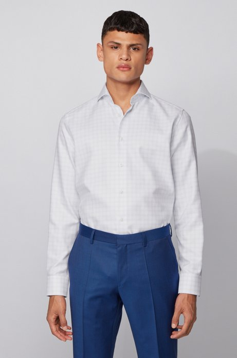 Regular-fit shirt in Glen-check Italian cotton, Light Blue