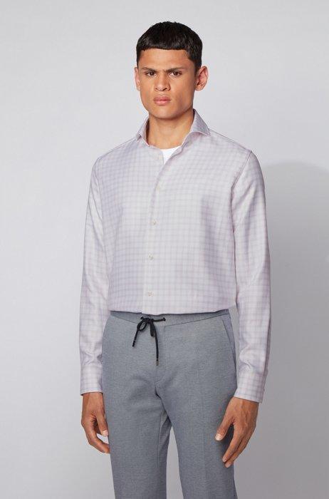 Regular-fit shirt in Glen-check Italian cotton, Pink