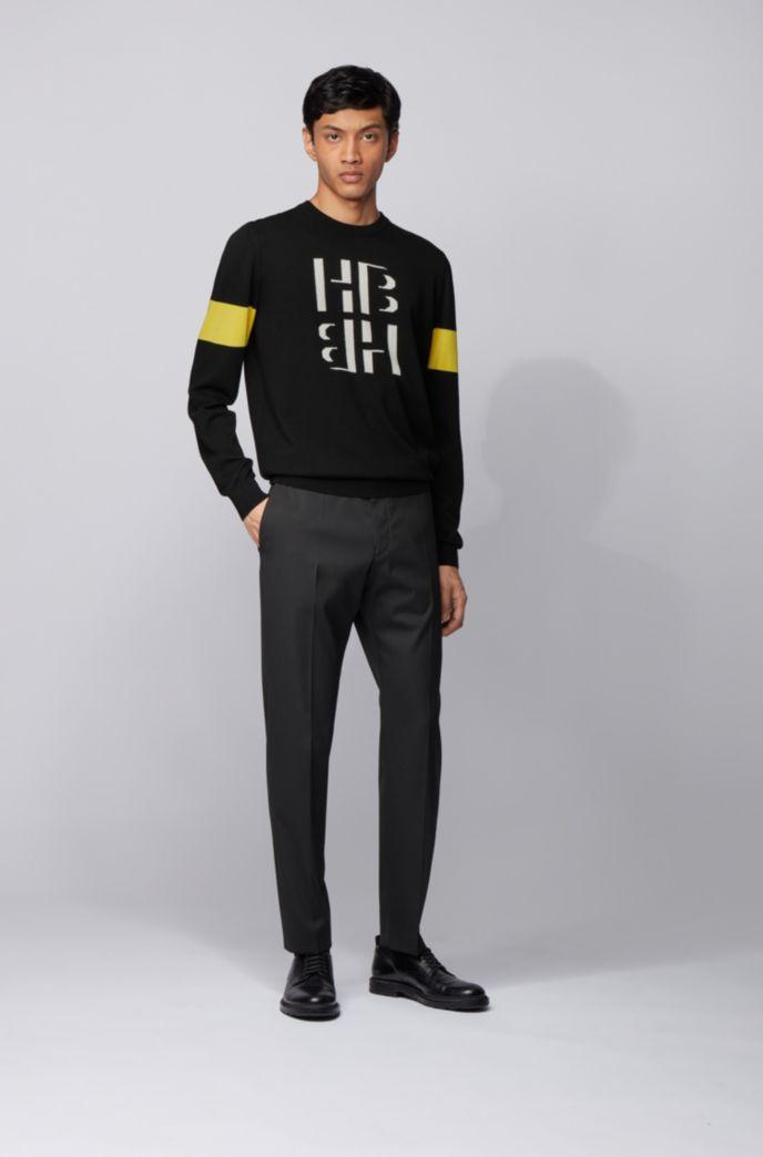 Cotton crew-neck sweater with monogram print