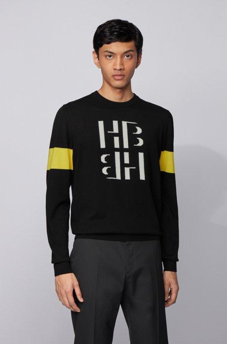 Cotton crew-neck sweater with monogram print, Black