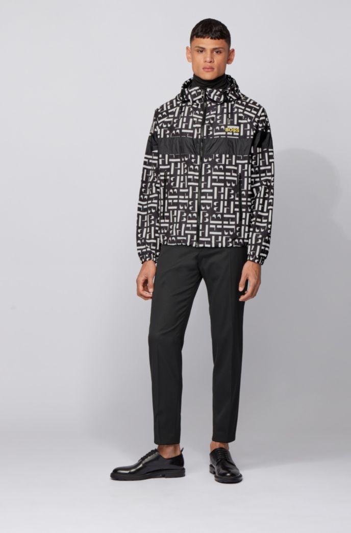 Monogram-motif jacket in water-repellent fabric