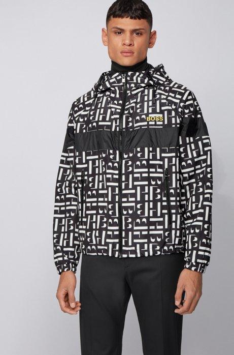 Monogram-motif jacket in water-repellent fabric, Black