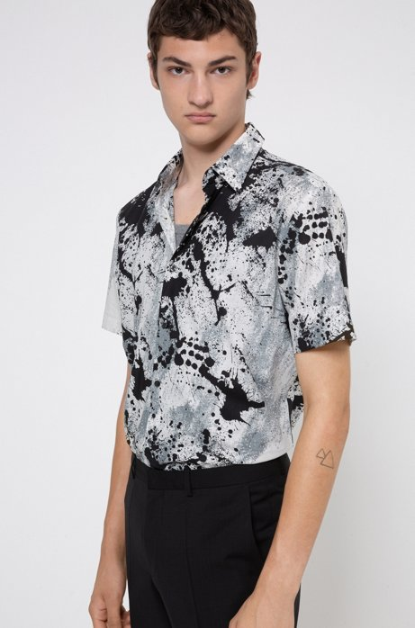 Slim-fit shirt in cotton canvas with abstract print, Dark Grey