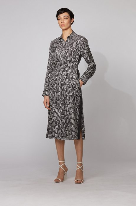 Silk twill shirt dress with monogram print, Patterned
