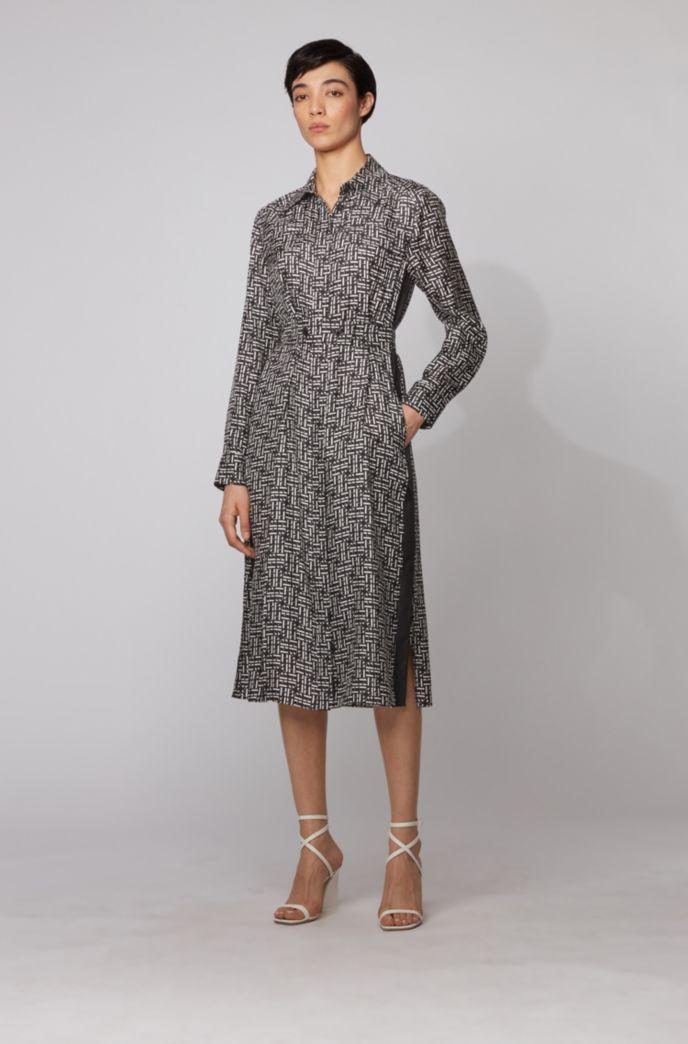 Silk twill shirt dress with monogram print