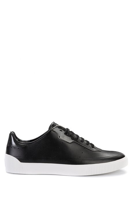 Lace-up sneakers in nappa leather with glossy details, Black