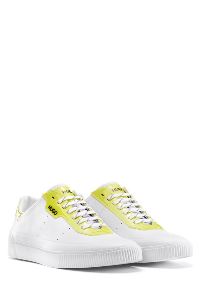 Lace-up sneakers in nappa leather with glossy details
