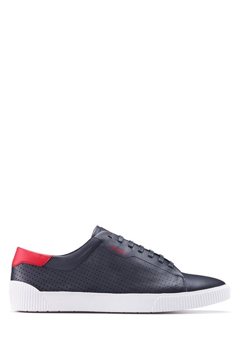 Lace-up sneakers in nappa leather with perforated details, Dark Blue
